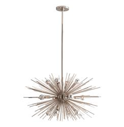Starburst Polished Nickel Modern Industrial Sputnik Chandelier