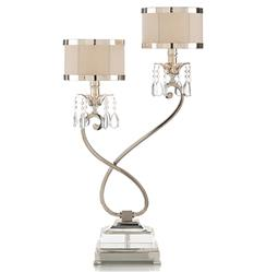 Starlight Hollywood Regency Silver Crystal Double Table Lamp - Right | Kathy Kuo Home