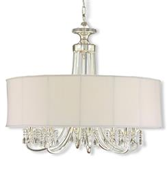Starlight Hollywood Regency Silver White Crystal 8 Light Chandelier