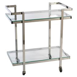 Stella Modern Classic Two Tier Polished Stainless Serving Cart | Kathy Kuo Home