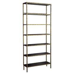 Stella Oly Antique Gold Dark Brown Etagere - 79.5H | Kathy Kuo Home