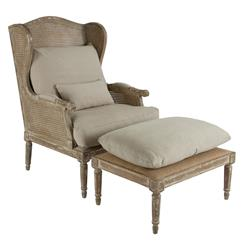 Stephen Hemp French Country Wing Back Chair with Ottoman | Kathy Kuo Home
