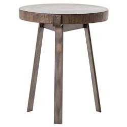 Stephens Rustic Industrial Bronze Frame Round Wood Side Table | Kathy Kuo Home