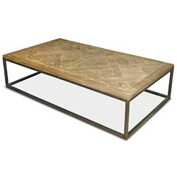 Stevenson Rustic Lodge White Wash Reclaimed Pine Metal Coffee Table | Kathy Kuo Home
