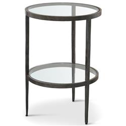 Stout Industrial Loft Double Glass Shelf Iron Brass Side End Table | Kathy Kuo Home