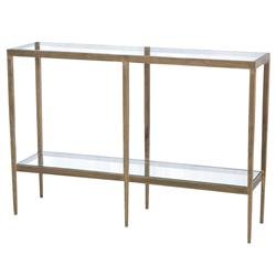 Stout Industrial Loft Two Tier Iron Glass Console Table | Kathy Kuo Home