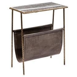 Strauss Loft Grey Leather Magazine Holder End Table | Kathy Kuo Home