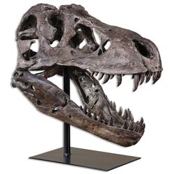 Sue Global Bazaar Brown Metal Tyrannosaurus Skull Sculpture | Kathy Kuo Home
