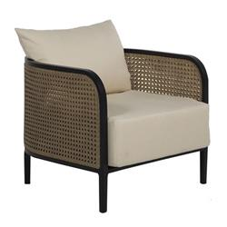 Summer Classics Havana Modern Beige Wicker Outdoor Lounge Chair | Kathy Kuo Home
