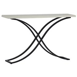 Summer Classics Marco Ivory Travertine Black Outdoor Console Table | Kathy Kuo Home