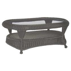 Summer Classics Wicker Modern Woven Oval Glass Slate Outdoor Coffee Table | Kathy Kuo Home