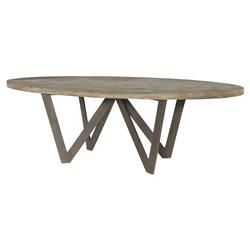 Sumpter Industrial Rustic Teak Steel Outdoor Dining Table - 8 ft. | Kathy Kuo Home