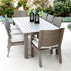 Sunset West Laguna Modern Brown Aluminum Outdoor Dining Table and Chairs Set | Kathy Kuo Home