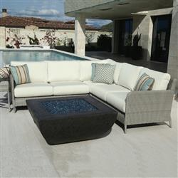 Sunset West Manhattan Modern Grey Outdoor Sectional with Side End Table Set | Kathy Kuo Home