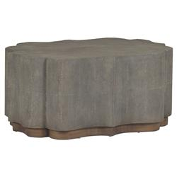 Sutton Grey Faux Shagreen Scalloped Edge Coffee Table | Kathy Kuo Home