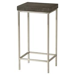 Swift Regency Charcoal Shagreen Steel End Table | Kathy Kuo Home