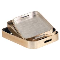 Synthia Modern Classic Rounded Silver Gold Tray - Set of 3 | Kathy Kuo Home