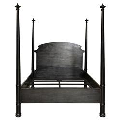 Tabina Bazaar Rubbed Black Four Poster Bed - Queen | Kathy Kuo Home