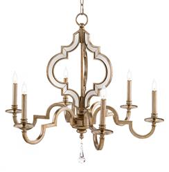 Tabitha Hollywood Regency Antique Silver Mirror 6 Light Chandelier