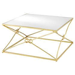 Tabor Industrial Loft Antique Glass Top Knotted Gold Metal Cocktail Table | Kathy Kuo Home