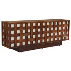 Tahla Global Bazaar Basketweave Brown White Media Cabinet | Kathy Kuo Home