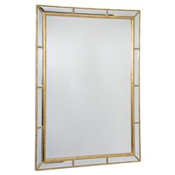 Taja Hollywood Antique Gold Beveled Rectangle Mirror | Kathy Kuo Home