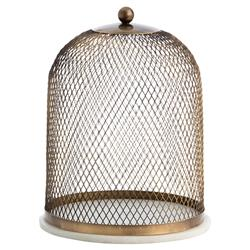 Talia Antique Brass Dome Display Cloche | Kathy Kuo Home