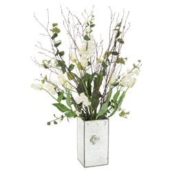 Tall White Tulip Natural Branch Mirrored Vase Arrangement | Kathy Kuo Home