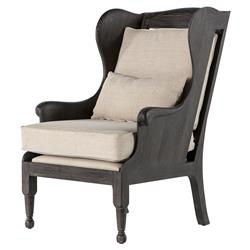 Tallara Country Charcoal Oak Linen Wing Chair | Kathy Kuo Home