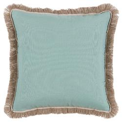 Talli Regency Fringe Soft Teal Outdoor Pillow - 20x20 | Kathy Kuo Home