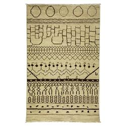 Tamar Tribal Pattern Moroccan Ivory Wool Rug - 5 x 7'8 | Kathy Kuo Home