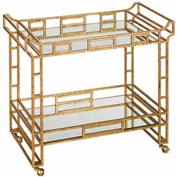 Tamara Hollywood Regency Antique Gold Mirror Bar Cart | Kathy Kuo Home