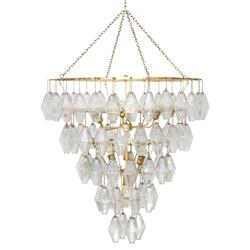 Tammany Hollywood Regency Gold Glass Waterfall Round Chandelier | Kathy Kuo Home