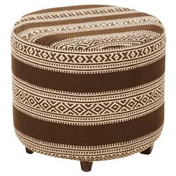 Tapper Rustic Lodge Brown Round Woven Stool | Kathy Kuo Home