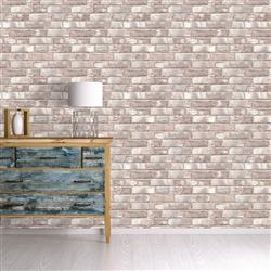 Taupe and Ivory Textured Brick Industrial Loft Removable Wallpaper | Kathy Kuo Home
