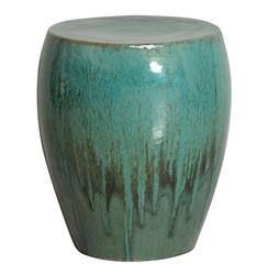 Teal Green Frost Coastal Beach Simple Ceramic Garden Seat Stool | Kathy Kuo  Home