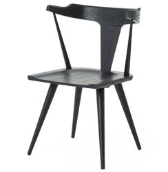 Tenly Mid Century Modern Black Oak Barrel Back Dining Chair - PAIR | Kathy Kuo Home
