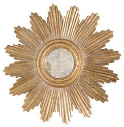 Tennessee Hollywood Regency Gold Sunburst Antique Wall Mirror | Kathy Kuo Home