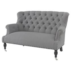 Teresa French Country Cement Grey Tufted Settee | Kathy Kuo Home