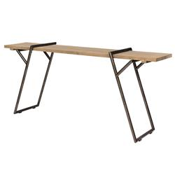 Thad Rustic Lodge Elm Black Metal Console Table | Kathy Kuo Home