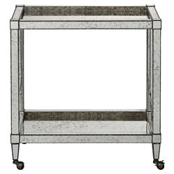 Thalia Regency Silver Art Deco Antique Mirror Bar Cart | Kathy Kuo Home