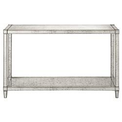 Thalia Regency Silver Art Deco Antique Mirror Console Table | Kathy Kuo Home