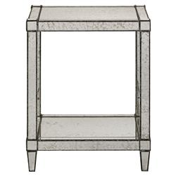 Thalia Regency Silver Art Deco Antique Mirror End Table | Kathy Kuo Home