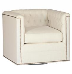 Thatcher Modern Classic Tufted Ivory Linen Swivel Arm Chair | Kathy Kuo Home