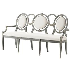 The Audience Modern Classic White Rubbed Triple Chair Back Settee | Kathy Kuo Home