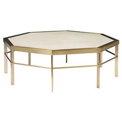 Thea Regency Ivory Satin Brass Octagon Coffee Table | Kathy Kuo Home