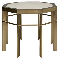 Thea Regency Ivory Satin Brass Octagon End Table | Kathy Kuo Home