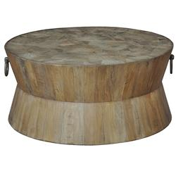 Thea Rustic Lodge Round Wood Coffee Table | Kathy Kuo Home