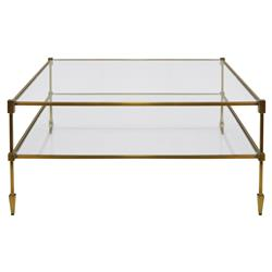 Theo Hollywood Regency Glass Antique Brass Square Coffee Table | Kathy Kuo Home