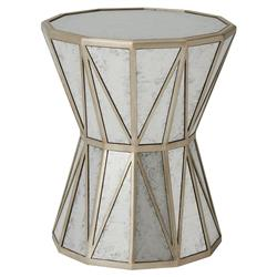 Theodore Alexander A Dozen Leaves Silver Leaf Antique Mirror Accent Table | Kathy Kuo Home